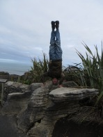 Pancake Rocks Headstand, Punakaiki, New Zealand