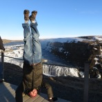 Gulfoss Waterfall Headstand, Iceland
